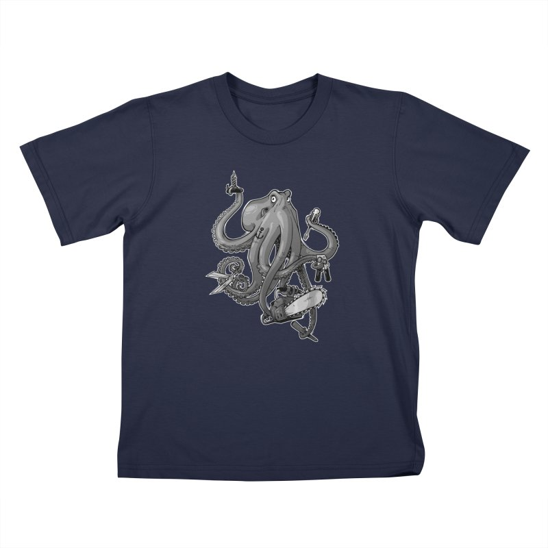 Swiss Army Octopus, B&W Kids Toddler T-Shirt by Marty's Artist Shop