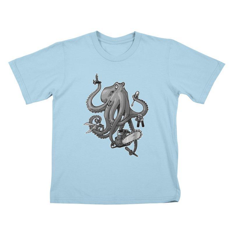 Swiss Army Octopus, B&W Kids T-Shirt by Marty's Artist Shop