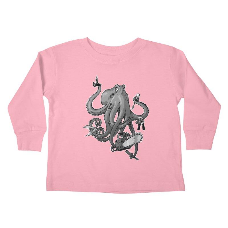 Swiss Army Octopus, B&W Kids Toddler Longsleeve T-Shirt by Marty's Artist Shop