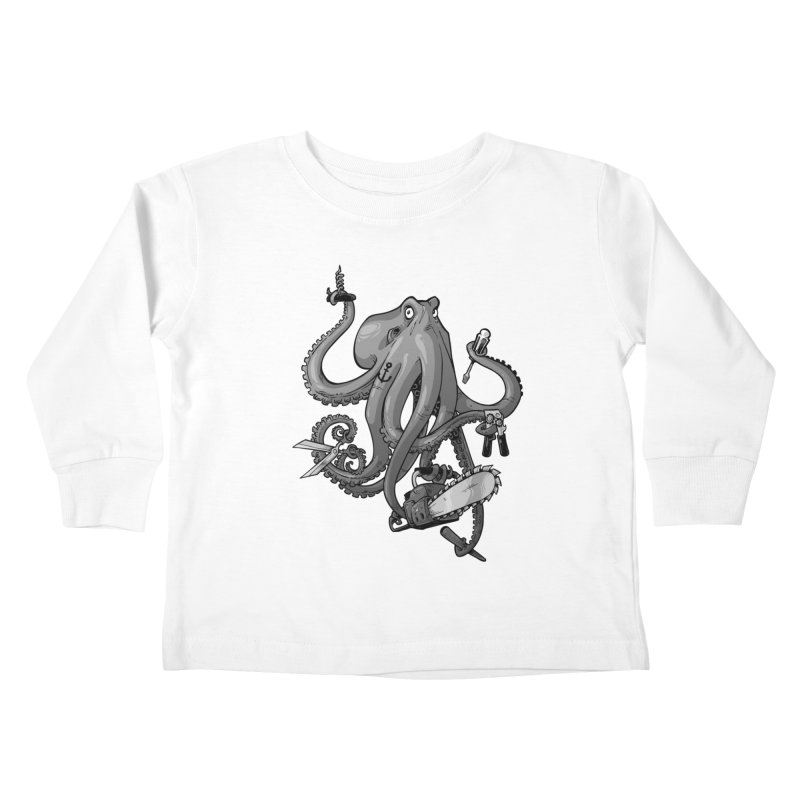Swiss Army Octopus, B&W Kids Toddler Longsleeve T-Shirt by Marty's Artist Shop
