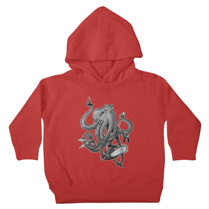 Swiss Army Octopus, B&W Kids Toddler Pullover Hoody by Marty's Artist Shop