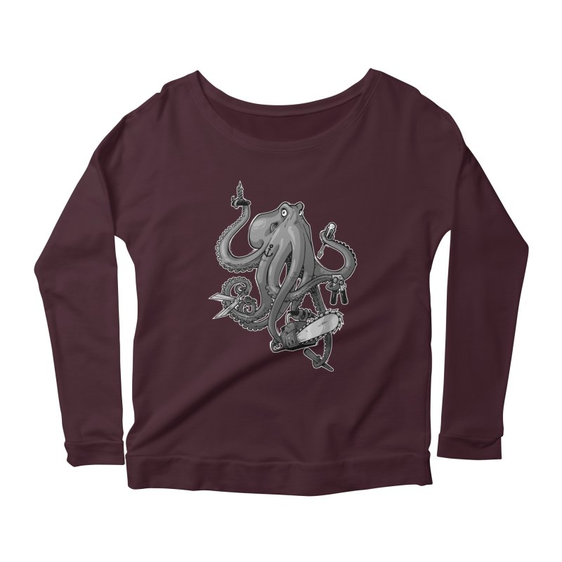 Swiss Army Octopus, B&W Women's Longsleeve Scoopneck  by Marty's Artist Shop