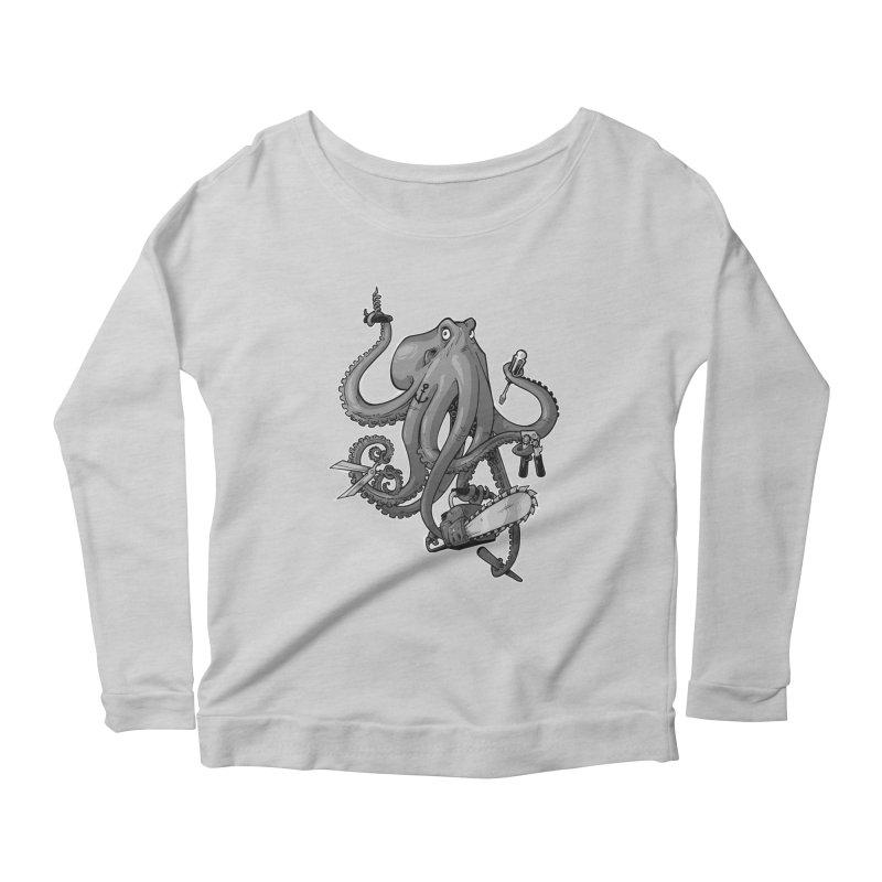 Swiss Army Octopus, B&W Women's Longsleeve Scoopneck  by Marty's Artist Shop