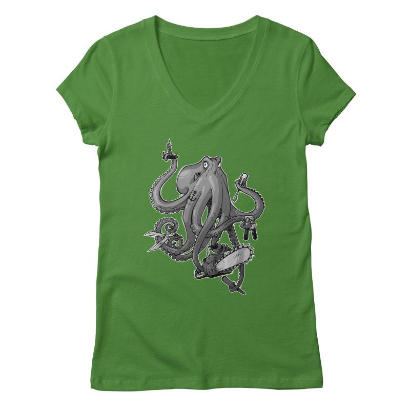 Swiss Army Octopus, B&W Women's V-Neck by Marty's Artist Shop