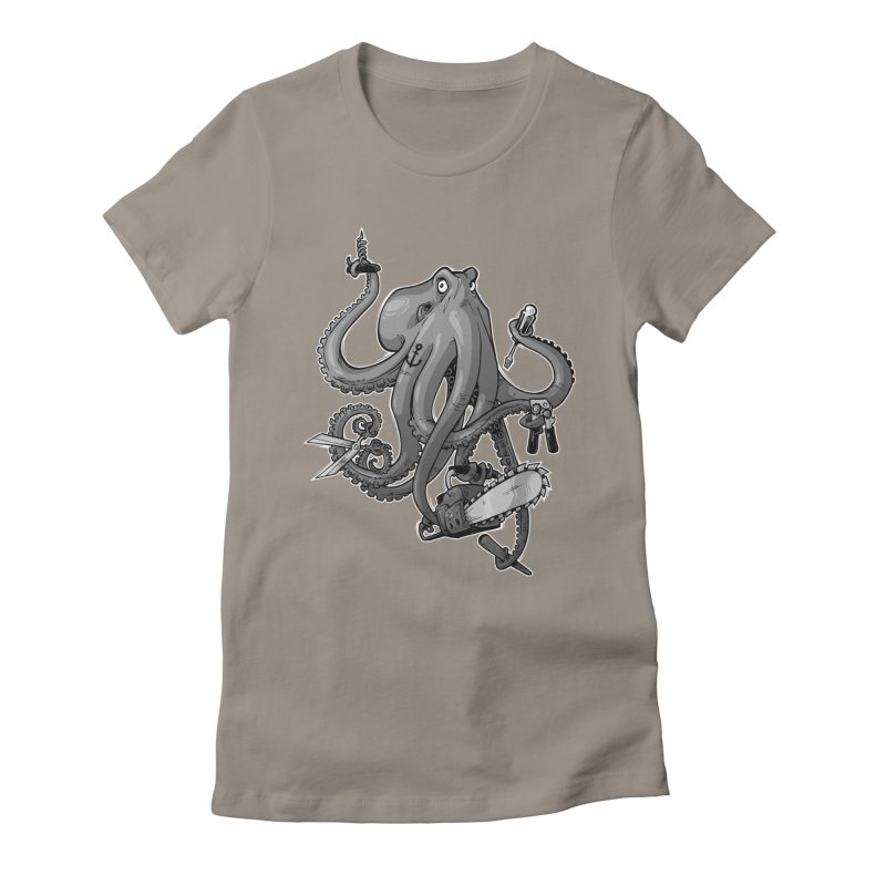 Swiss Army Octopus, B&W Women's Fitted T-Shirt by Marty's Artist Shop