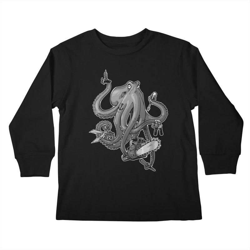 Swiss Army Octopus, B&W Kids Longsleeve T-Shirt by Marty's Artist Shop