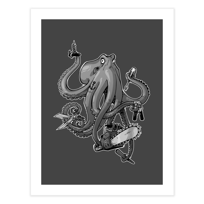 Swiss Army Octopus, B&W Home Fine Art Print by Marty's Artist Shop