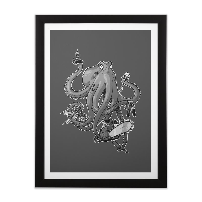 Swiss Army Octopus, B&W Home Framed Fine Art Print by Marty's Artist Shop