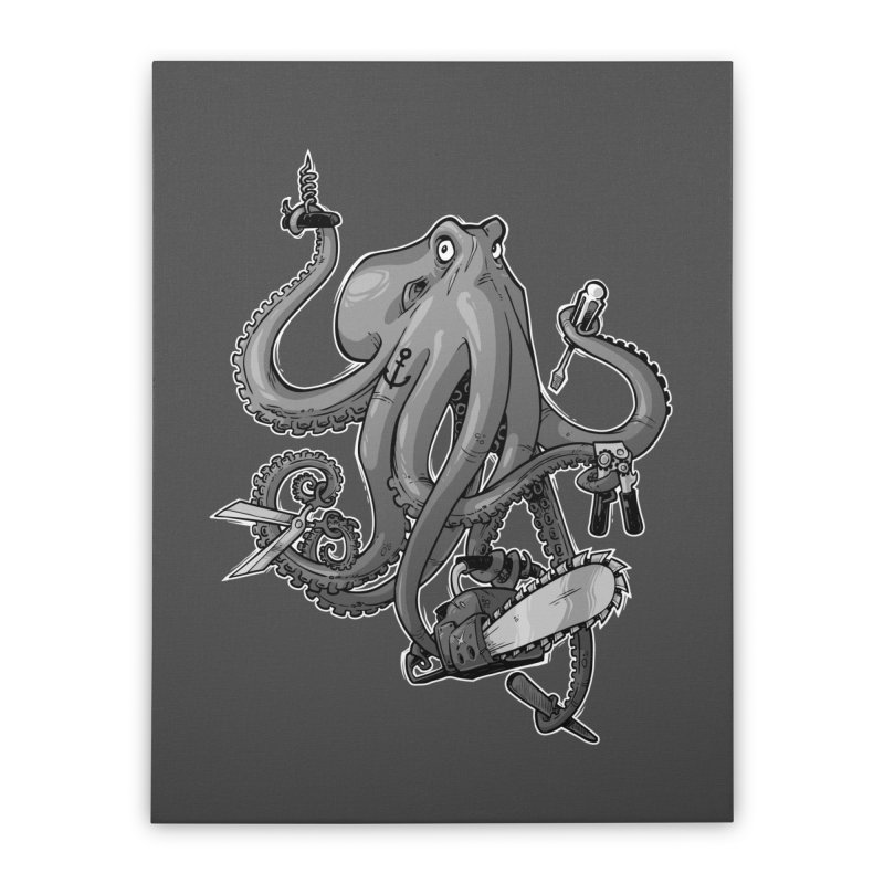 Swiss Army Octopus, B&W Home Stretched Canvas by Marty's Artist Shop