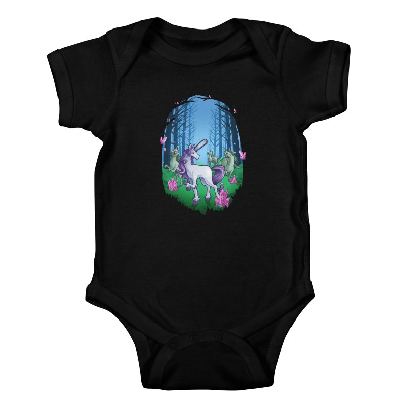 Chainsaw Unicorn Kids Baby Bodysuit by Marty's Artist Shop