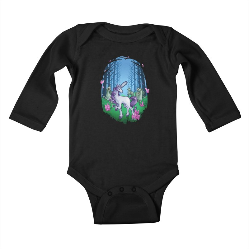 Chainsaw Unicorn Kids Baby Longsleeve Bodysuit by Marty's Artist Shop