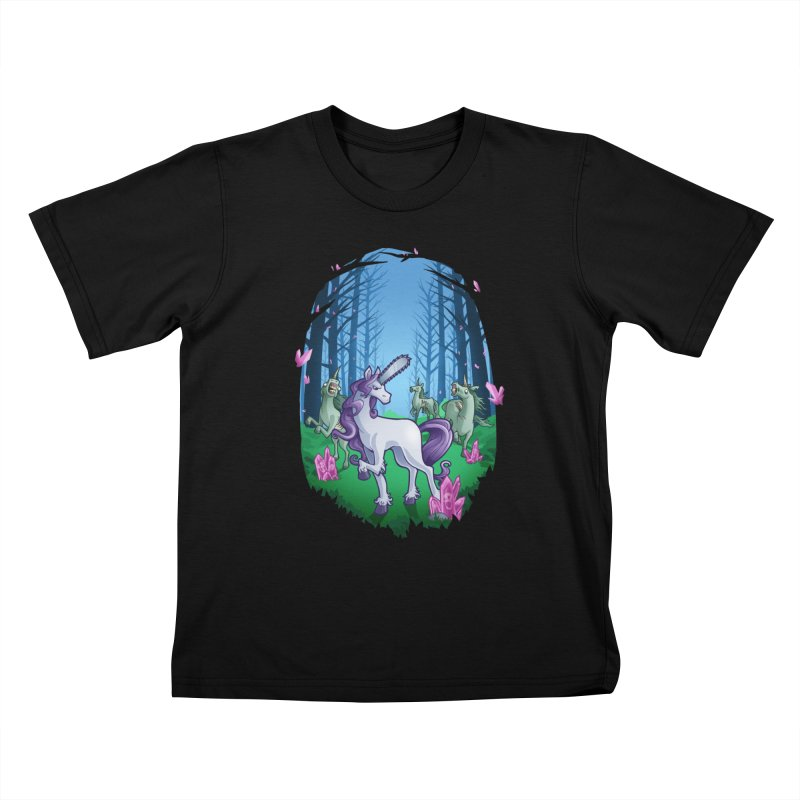 Chainsaw Unicorn Kids T-Shirt by Marty's Artist Shop