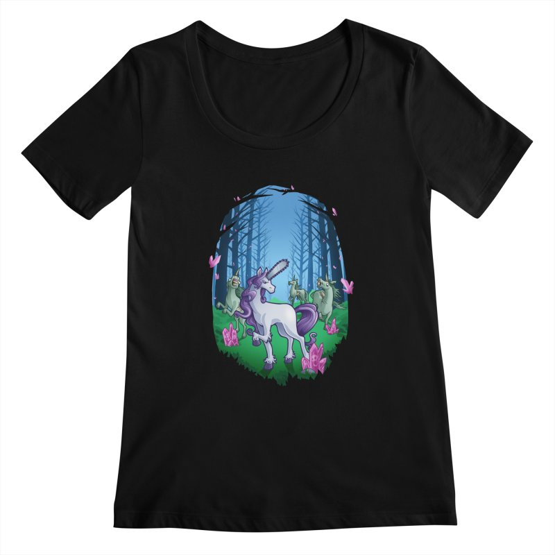 Chainsaw Unicorn Women's Scoopneck by Marty's Artist Shop