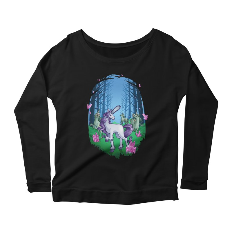 Chainsaw Unicorn Women's Longsleeve Scoopneck  by Marty's Artist Shop