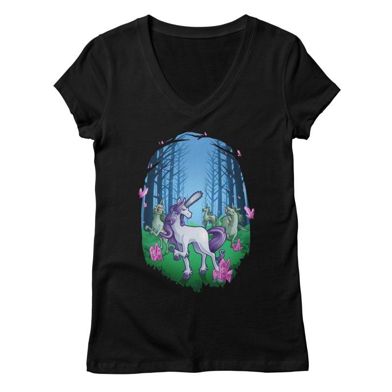 Chainsaw Unicorn Women's V-Neck by Marty's Artist Shop