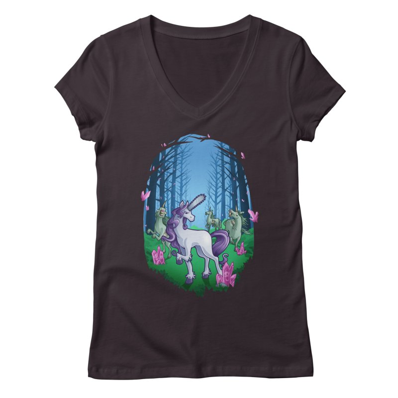 Chainsaw Unicorn Women's V-Neck by Marty's Artist Shop