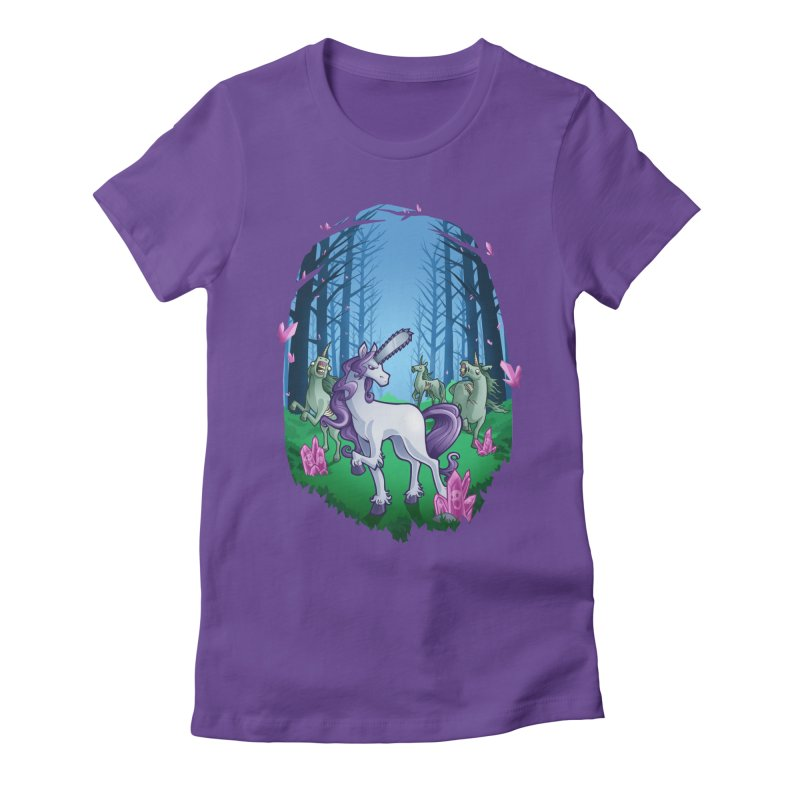 Chainsaw Unicorn Women's Fitted T-Shirt by Marty's Artist Shop