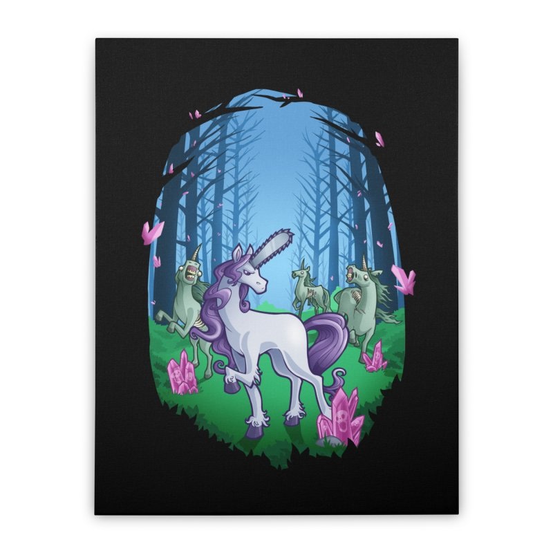 Chainsaw Unicorn Home Stretched Canvas by Marty's Artist Shop