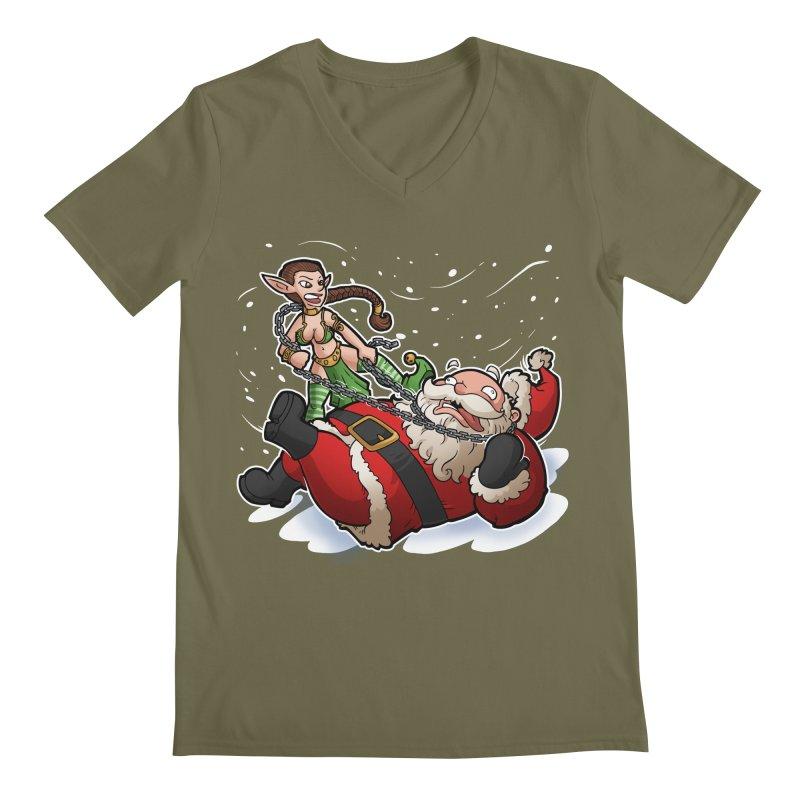 Santa the Hutt Men's Regular V-Neck by Marty's Artist Shop