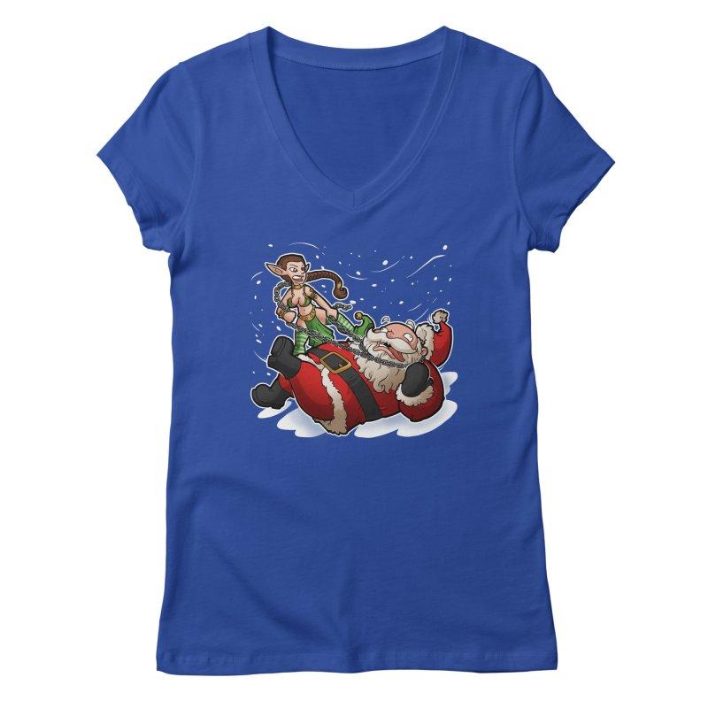 Santa the Hutt Women's Regular V-Neck by Marty's Artist Shop