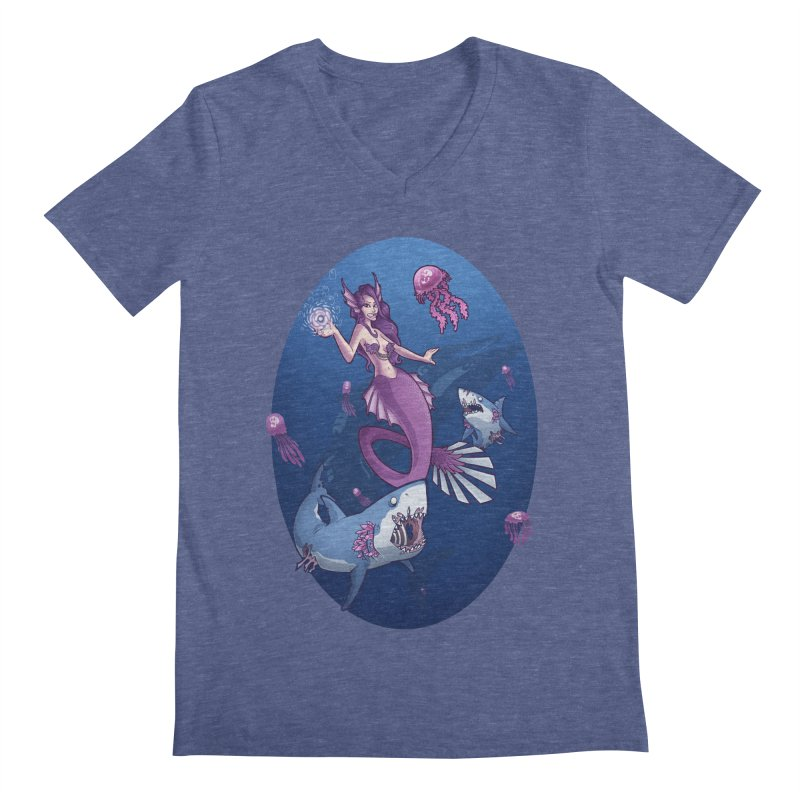 The Mermaid Queen Men's V-Neck by Marty's Artist Shop