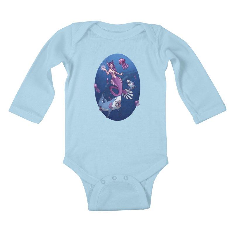 The Mermaid Queen Kids Baby Longsleeve Bodysuit by Marty's Artist Shop