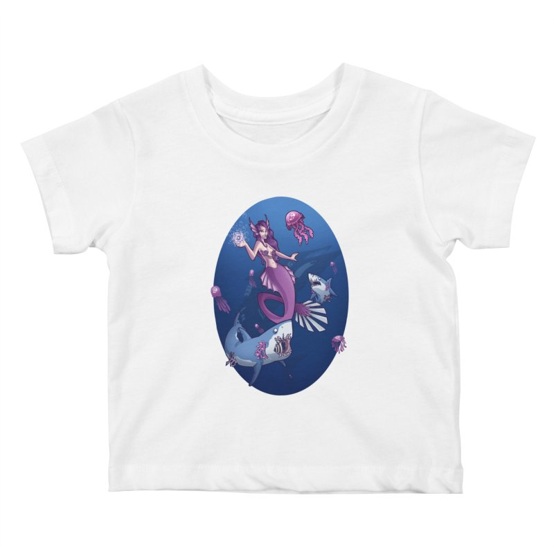 The Mermaid Queen Kids Baby T-Shirt by Marty's Artist Shop