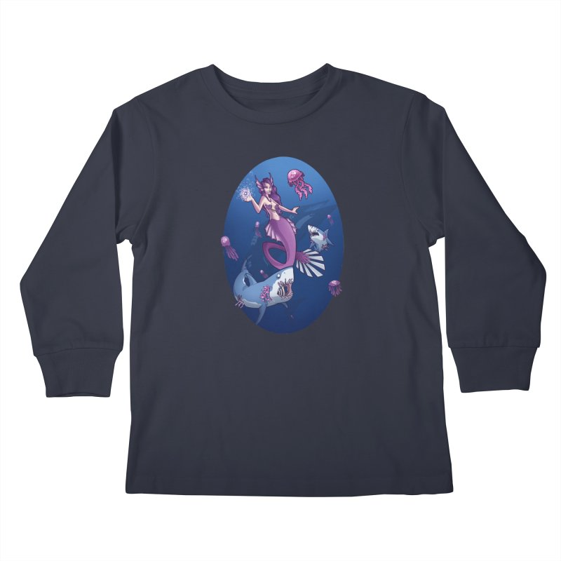 The Mermaid Queen Kids Longsleeve T-Shirt by Marty's Artist Shop