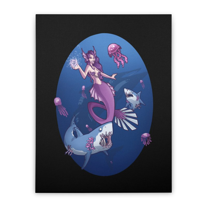 The Mermaid Queen Home Stretched Canvas by Marty's Artist Shop