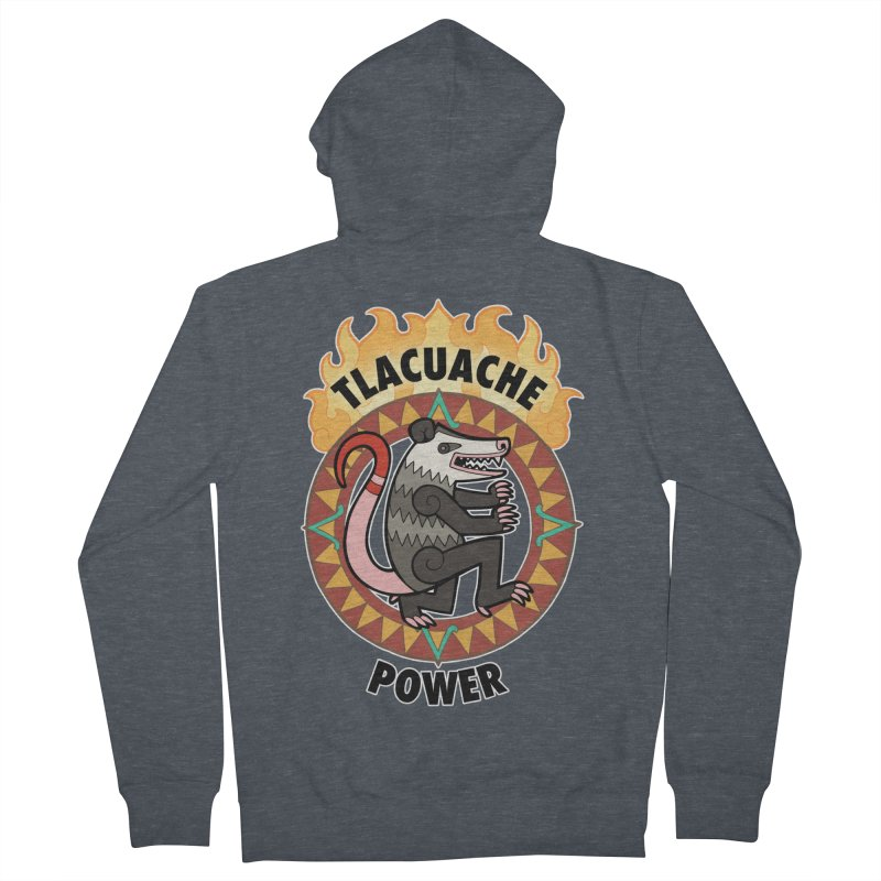 Tlacuache Power Women's French Terry Zip-Up Hoody by Marty's Artist Shop