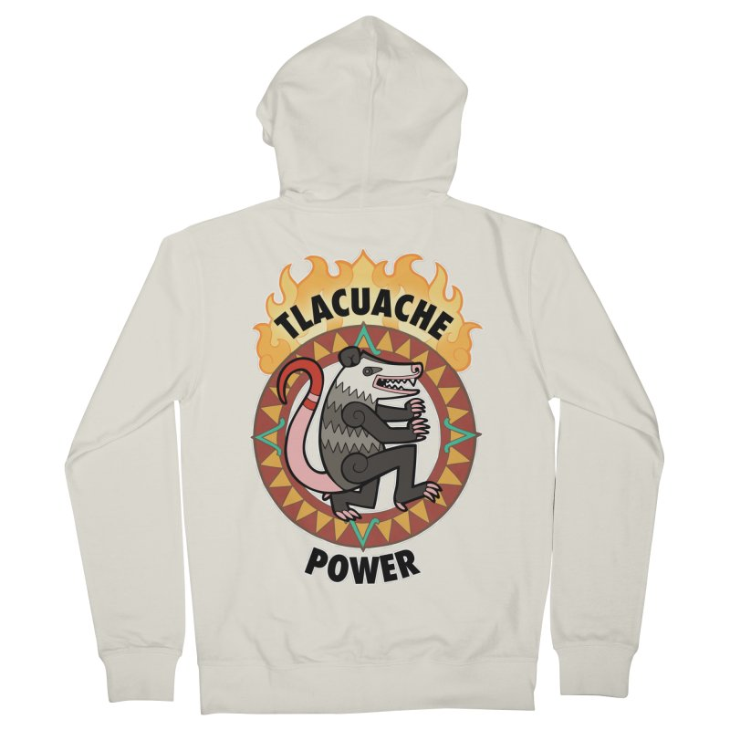 Tlacuache Power Men's French Terry Zip-Up Hoody by Marty's Artist Shop