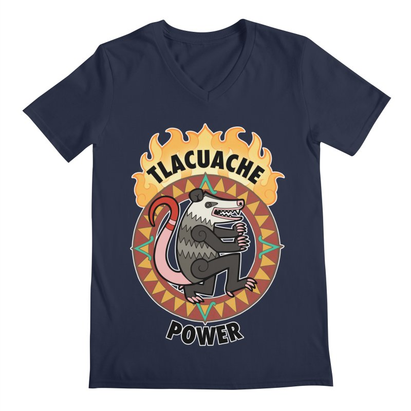 Tlacuache Power Men's Regular V-Neck by Marty's Artist Shop