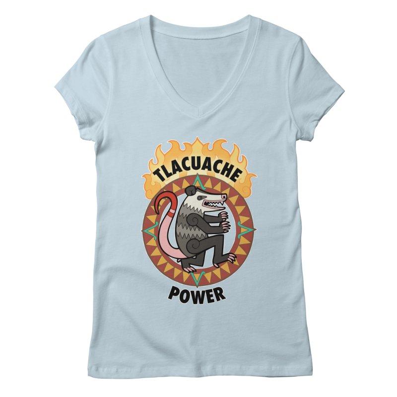 Tlacuache Power Women's Regular V-Neck by Marty's Artist Shop