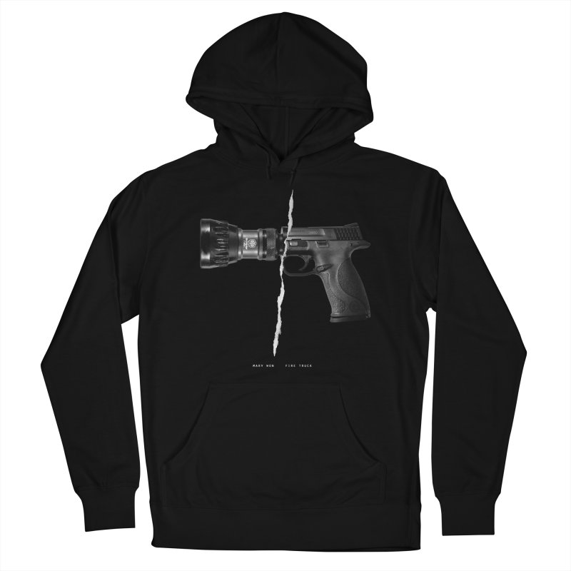 Water / Fire in Men's French Terry Pullover Hoody Black by Marv Won