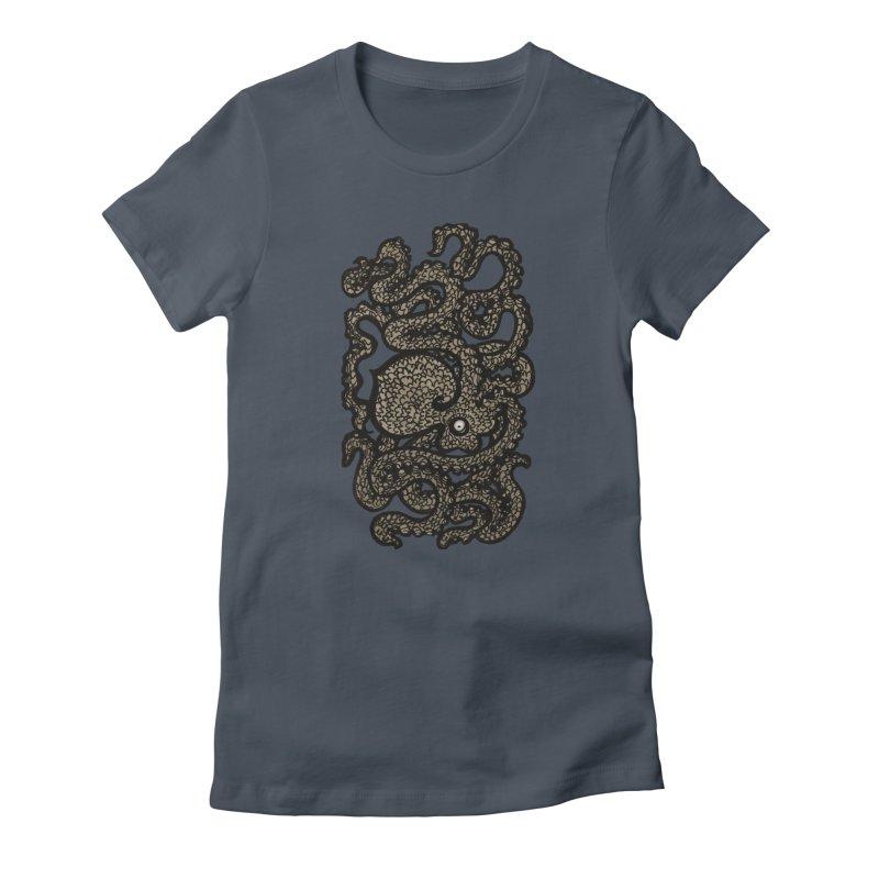 Henry the Happy Octopus (sepia) Women's T-Shirt by maryannartdotcom's Artist Shop