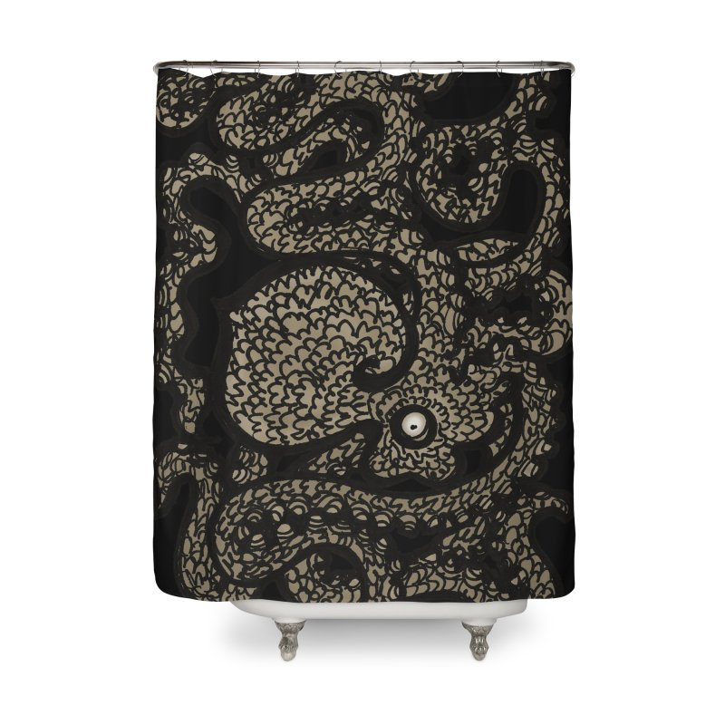 Henry the Happy Octopus (sepia) Home Shower Curtain by maryannartdotcom's Artist Shop
