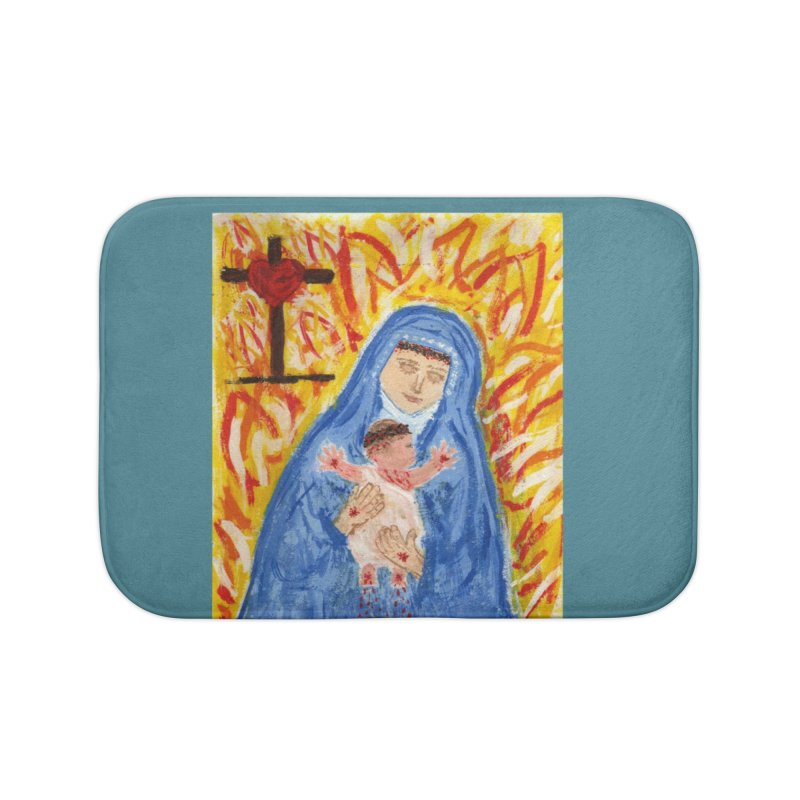 Mary with Infant Jesus Crucified Home Bath Mat by Mary Kloska Fiat's Artist Shop