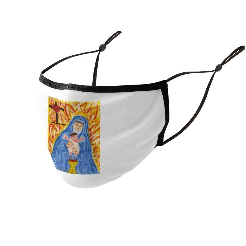 Mary with Infant Jesus Crucified Accessories Face Mask by Mary Kloska Fiat's Artist Shop