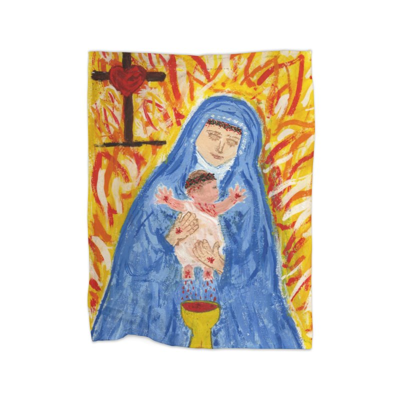 Mary with Infant Jesus Crucified Home Blanket by Mary Kloska Fiat's Artist Shop