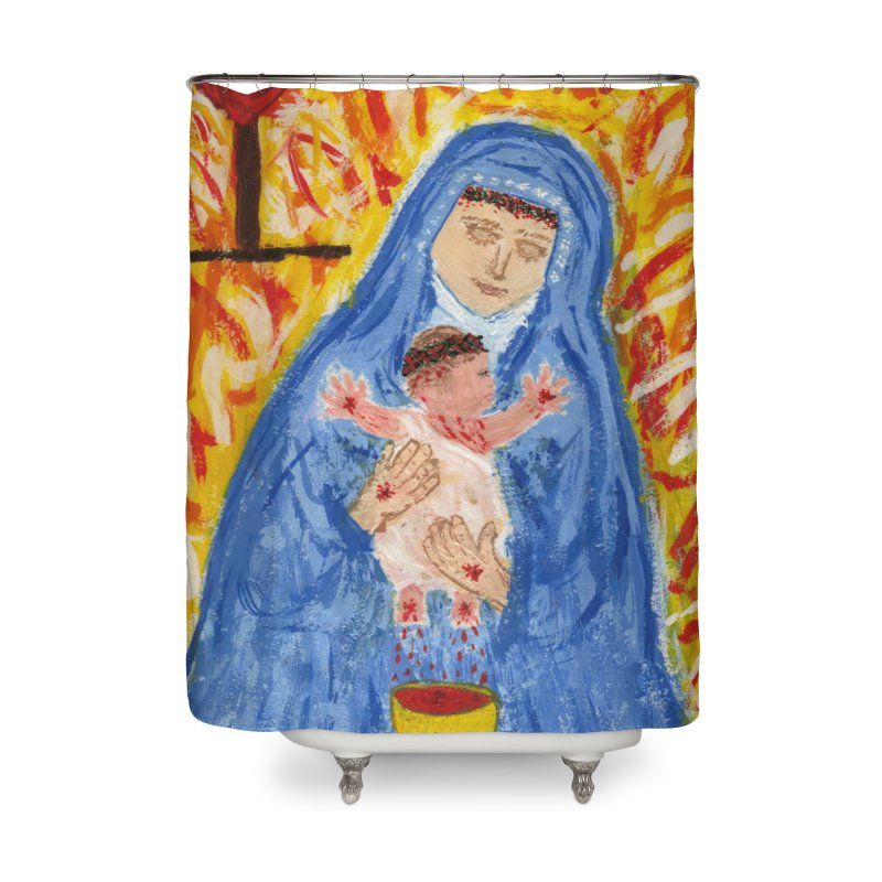 Mary with Infant Jesus Crucified Home Shower Curtain by Mary Kloska Fiat's Artist Shop