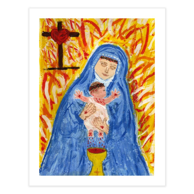 Mary with Infant Jesus Crucified Home Fine Art Print by Mary Kloska Fiat's Artist Shop