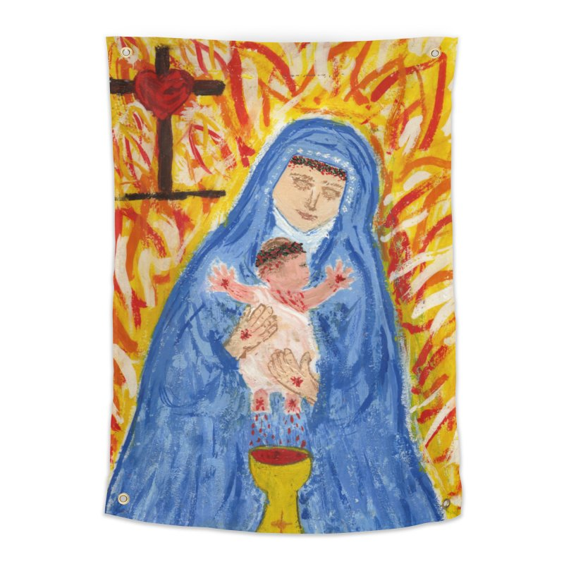 Mary with Infant Jesus Crucified Home Tapestry by Mary Kloska Fiat's Artist Shop