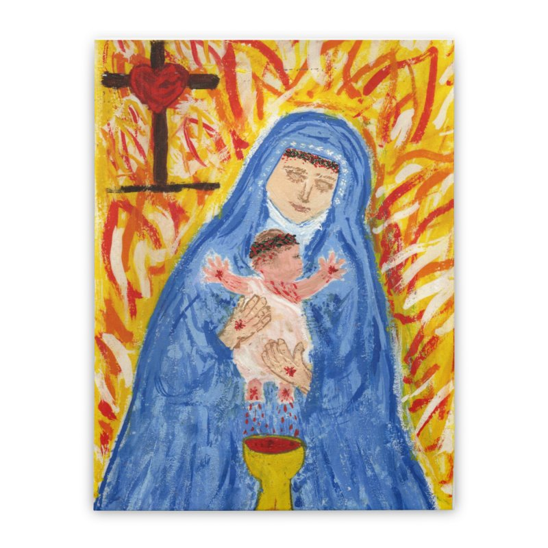 Mary with Infant Jesus Crucified Home Stretched Canvas by Mary Kloska Fiat's Artist Shop