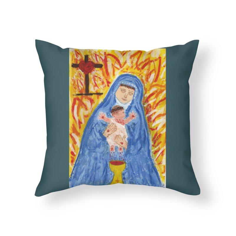 Mary with Infant Jesus Crucified Home Throw Pillow by Mary Kloska Fiat's Artist Shop