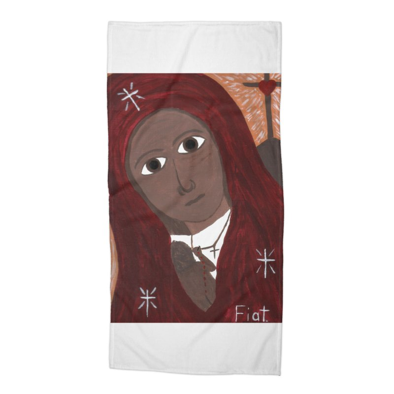 Blessed Mother and Child -African Accessories Beach Towel by Mary Kloska Fiat's Artist Shop