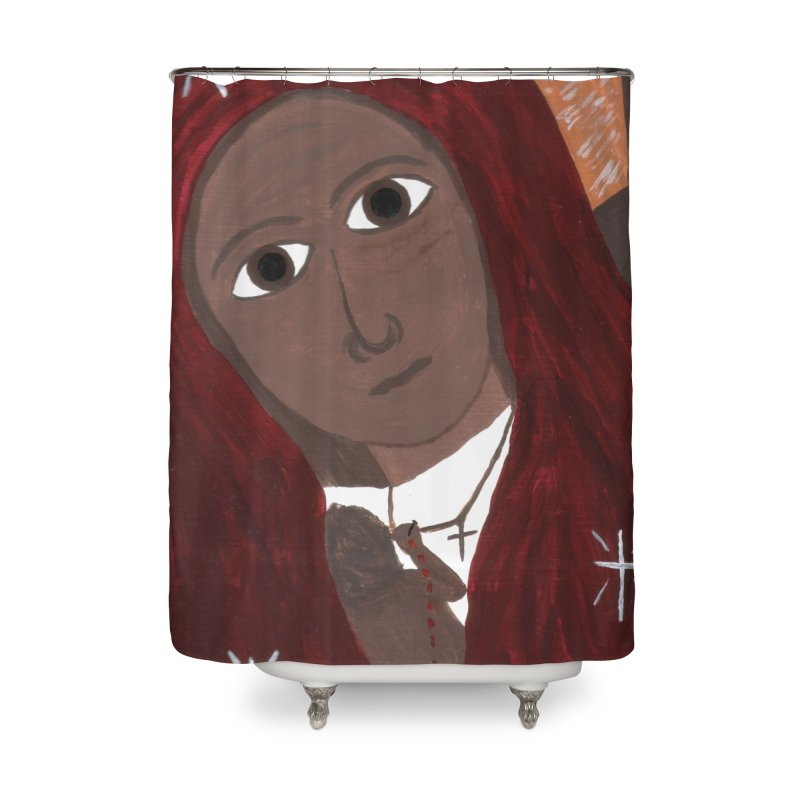 Blessed Mother and Child -African Home Shower Curtain by Mary Kloska Fiat's Artist Shop