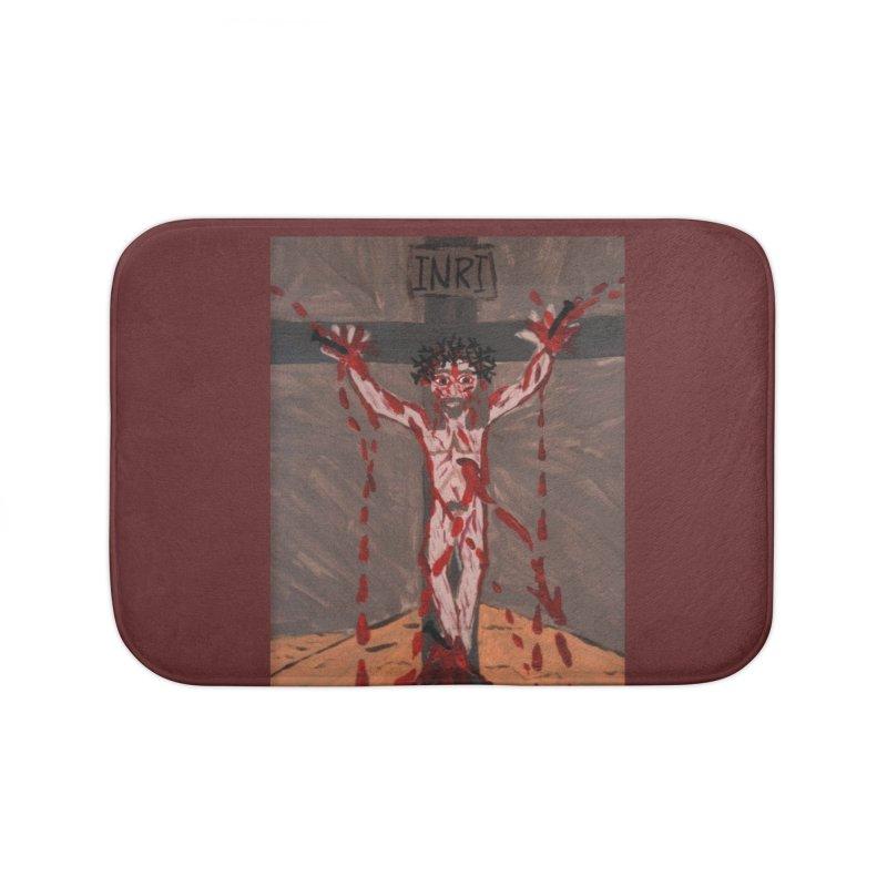 Desert Jesus Crucified Home Bath Mat by Mary Kloska Fiat's Artist Shop