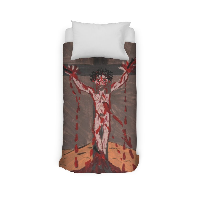 Desert Jesus Crucified Home Duvet by Mary Kloska Fiat's Artist Shop