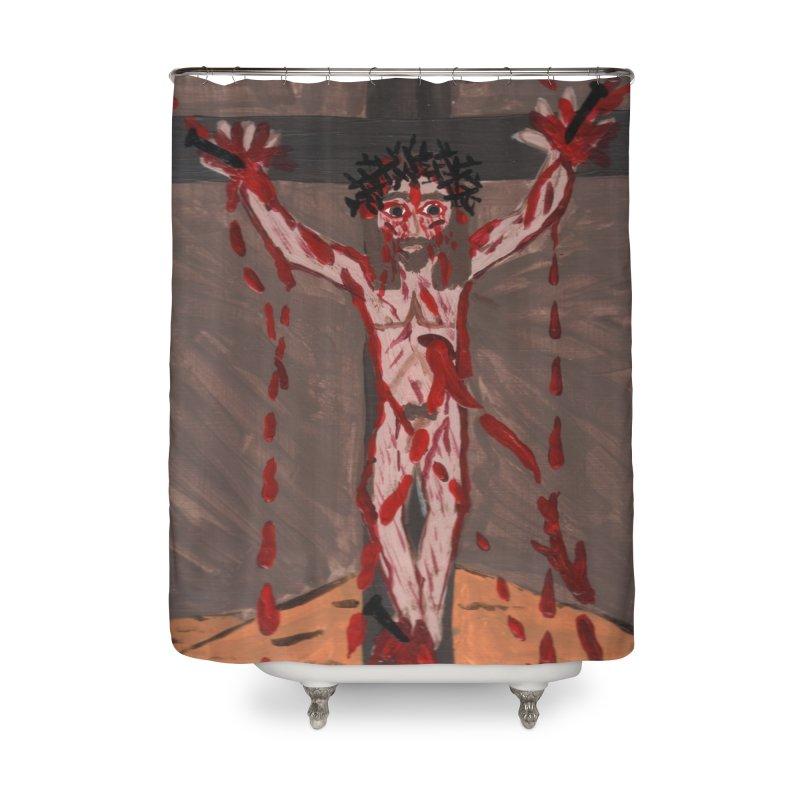 Desert Jesus Crucified Home Shower Curtain by Mary Kloska Fiat's Artist Shop