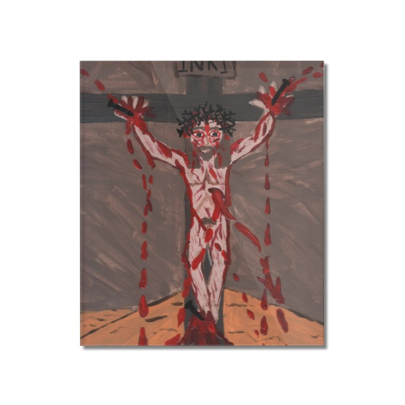 Desert Jesus Crucified Home Mounted Acrylic Print by Mary Kloska Fiat's Artist Shop